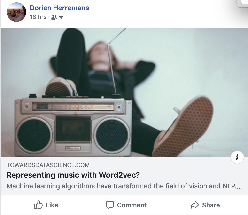 Word2vec for representing music? | Dorien Herremans